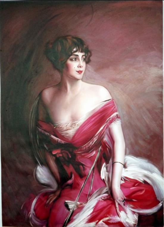 La Dame de Biarritz eine Kopie aus der Werkstatt von Friedrich Howanietz, nach Giovanni Boldini
